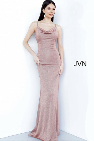 JVN Jovani 2375 Cowl neckline copper fitted evening gown prom dress bridesmaids gown