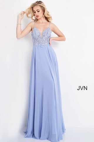JVN2390 v neckline embroidered lace bodice flowy chiffon maxi prom dress pageant gown evening dress informal wedding dress  Available colors:  Blush, Navy, Off White, Periwinkle   Available sizes:  00-24   JVN by Jovani 2390 Prom Dress, Evening Gown, Pageant Dress, Destination Bridal Dress