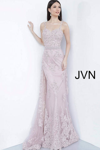 JVN2444 sweetheart neckline embellished lace formal evening dress with pearl embellished waistline and lace straps features a lace overskirt train in the back. Would make an excellent mother of the bride or groom dress or maid of honor gown