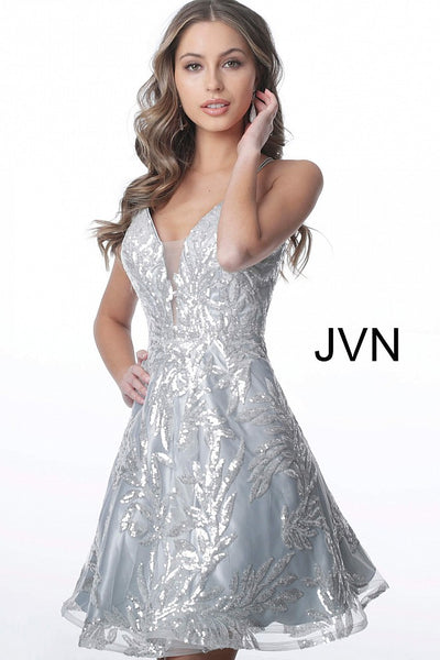 935007ad2b9 JVN2451 Silver Plunging Neckline Tie Back Homecoming Dress –  GlassSlipperFormals