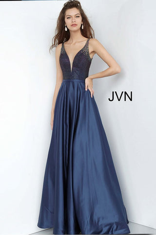 JVN2469 Ombre beaded bodice with low v neckline and satin A line skirt prom dress evening gown military ball dress