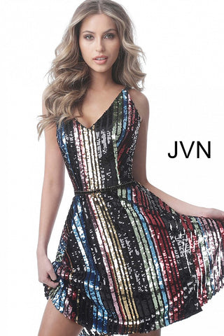 JVN2540 multi sequin fit and flare homecoming dress