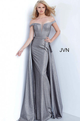 JVN by Jovani 2560 Metallic Long Fitted Prom Dress with Overskirt Train & a deep V Neckline evening gown mother of the bride dress.