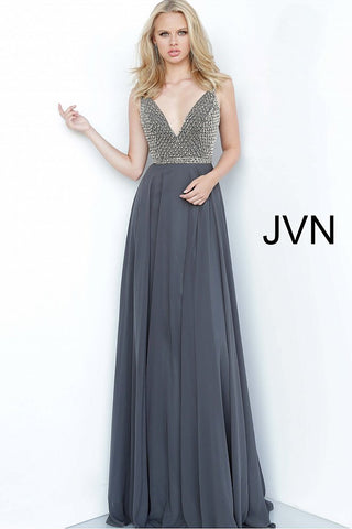 JVN2574 v neckline embellished bodice a line flowy chiffon evening gown prom dress pageant gown informal wedding dress