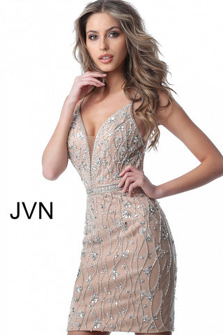 Spaghetti Straps Embellished Cocktail Dress JVN2601