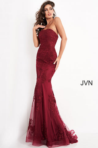 JVN3097 strapless straight neckline strapless fitted lace mermaid prom dress evening gown bridesmaids dresses  Available colors:  Burgundy, Emerald, Light Blue, Light Pink, Navy, Off White, Red  Available sizes:  00, 0, 2, 4, 6, 8, 10, 12, 14, 16, 20, 22, 24  JVN by Jovani 3097