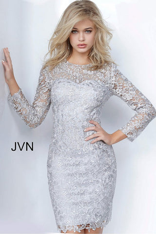 JVN by Jovani 3217 sheer lace long sleeves short lace cocktail dress evening gown