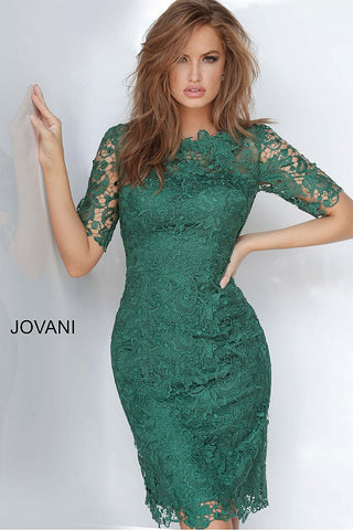 JVN by Jovani 3218 short lace fitted cocktail dress with sheer lace sleeves
