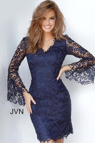 JVN3221 long sheer lace bell sleeves with v neckline short fitted lace cocktail dress evening dress mother of the bride or groom dress