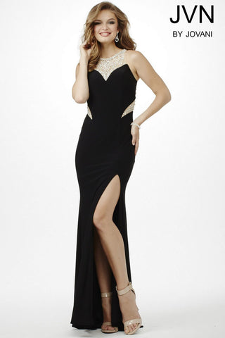Jovani JVN 33708 size 10 Long Fitted Cutout Formal Dress Sheer Back High Neck