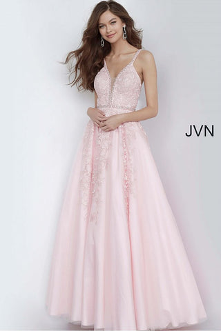 Jovani JVN 3388 Size 4 Floral Lace Ballgown Prom Dress V Neck Embellished Open Back 2020