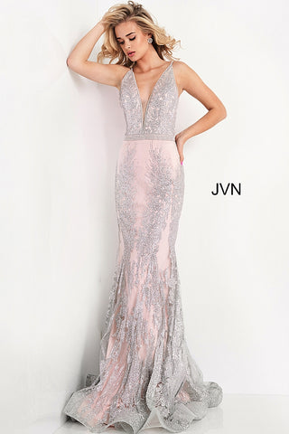 Jovani JVN3663 Long Fitted Mermaid Prom Dress Pageant Gown Glitter
