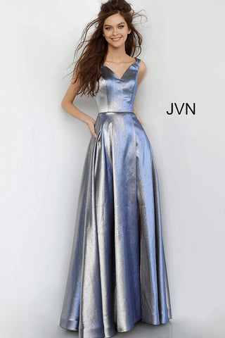 Jovani JVN 3777 is a 2020 Prom Dress, Pageant Gown & Formal Evening Wear. Metallic Shimmer Long Maxi Prom Dress. Off the Shoulder Straps with a V Neckline. High crossover slit all the way to the waist line.