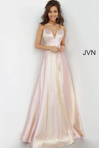 JVN by Jovani Style 3779 is a stunning shimmer A line Prom Dress. Featuring a Metallic Iridescent Shimmer Fabric. Deep V Neck with Criss Cross strap pattern. High Front slit goes all the way up to the waistline. Open Back Formal Dress. Color Changing material with light variations.