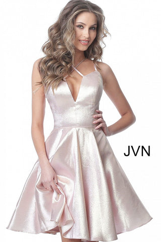 JVN3780 JVN by Jovani 3780 is a metallic shimmer Fit and Flare Short Prom Dress and  Homecoming Dress. criss cross strap neckline fit and flare cocktail dress