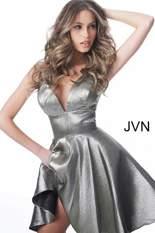 JVN3782 spaghetti straps short fit and flare homecoming dress