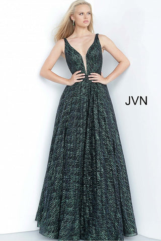 JVN3817 Plunging v neckline with mesh panel A line prom dress ball gown evening dress