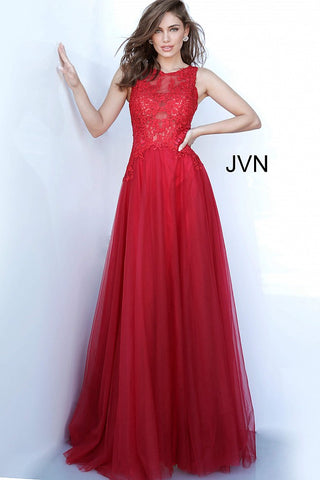 JVN by Jovani 3896 embroidered bodice tulle prom dress