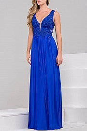JVN by Jovani 41466 size 4 Royal Blue lace bodice prom dress