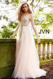 JVN41677 Embellished stones Embroidered fitted silhouette, floor length, full tulle over skirt with scattered heat set stones, sheer bodice, sleeveless, bra cups, plunging neckline, V back.
