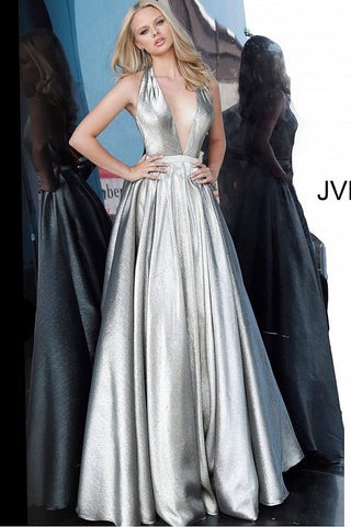 JVN by Jovani 4187 Low V neckline crystal belt silver metallic A line prom dress