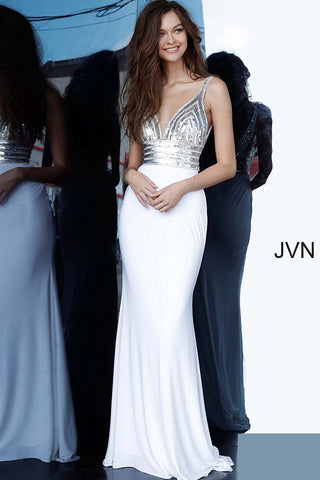 Jovani JVN 4240 Long Fitted Sequin Embellished Prom Dress 2020 Crystal Gown