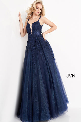 Jovani JVN4271 Long Floral Lace Embroidered Prom Dress Ball Gown Plunging Neckline