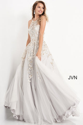 JVN4274 crew neckline embroidered long prom dress ball gown evening gown with full embroidered tulle skirt  Color Grey  Sizes  00, 0, 2, 4, 6, 8, 10, 12, 14, 16, 18, 20, 22, 24  JVN by Jovani 4274
