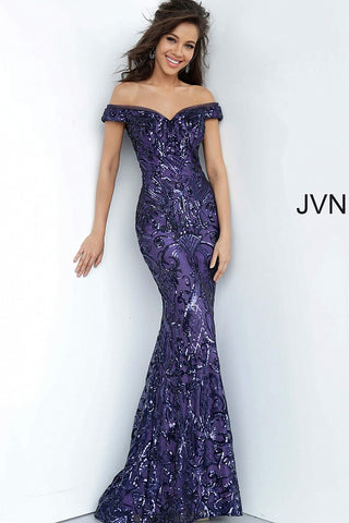 JVN by Jovani 4296 Size 14 Fitted Sequin Embellished Off the Shoulder Prom Dress 2020
