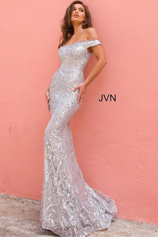 Jovani JVN4296 Off the Shoulder Prom Dress Sequin Evening Gown Mermaid Pageant Dress