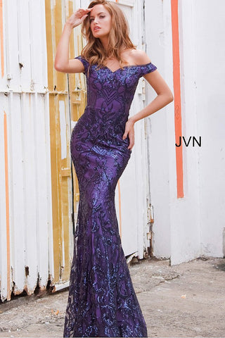 JVN4296 off the shoulder sequin mermaid evening gown prom dress