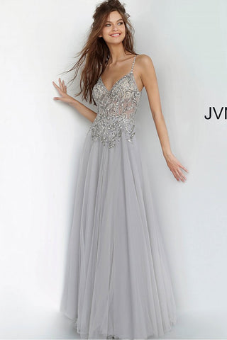 JVN Jovani 4396 embellished top v neckline flowy maxi prom dress evening gown