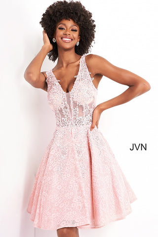 Jovani JVN45264 sheer embroidered lace fit and flare short homecoming cocktail dress short prom dress reception dress sheer lace back JVN 45264 Plunging V Neckline with a sheer lace embellished bodice open back. Flared short cocktail skirt with floral embellished lace cascading down.  Available colors:  Black, Hunter, Light Lavender, Navy, Pink, Red, White  Available sizes:  00, 0, 2, 4, 6, 8, 10, 12, 14, 16, 18, 20, 22, 24