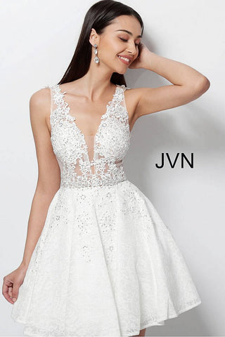 JVN Jovani 45264 sheer embroidered lace fit and flare short homecoming cocktail dress