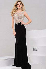 JVN45326 Black and Nude prom dress stretch jersey evening gown with sleeveless embellished bodice top and cutout open back in stock size 00 prom dress military ball gown