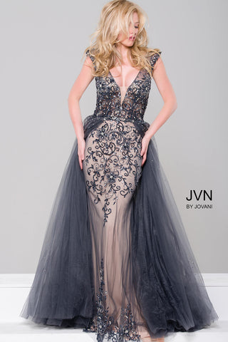 JVN by Jovani 46081 Embellished Column Prom Dress with Tulle Overlay-