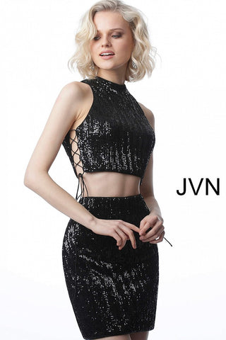 JVN4692 two piece criss cross side ties fitted cocktail dress