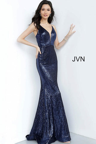 JVN 4696 is a Prom Dress, Pageant gown & Formal Evening wear. This long fitted sequin gown features a plunging neckline with a mesh insert. an open back with crossing spaghetti straps.  Mermaid Silhouette JVN4696