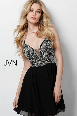 JVN47310  This short cocktail dress features a deep v plunging neckline with a sheer embellished bodice and flowy chiffon skirt.  Available in white, black, sky blue or burgundy.