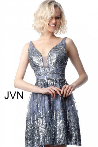 JVN4762 plunging neckline sequin homecoming dress