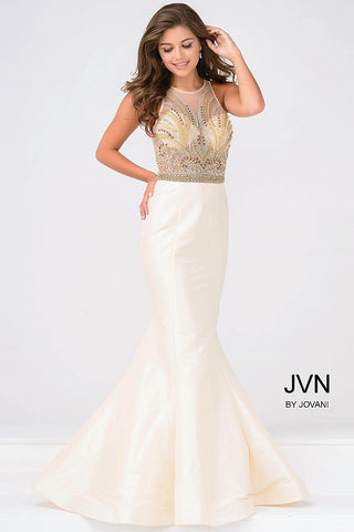 JVN by Jovani 47813 nude size 0 mermaid gown prom dress pageant