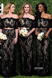 JVN by Jovani 47915 black size 8 off the shoulder lace prom dress