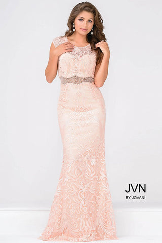 JVN by Jovani 48712 cap sleeve lace faux two piece gown size 2