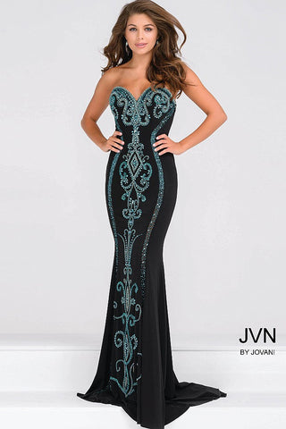 Jovani JVN 49357 This best selling gown is a jersey fitted prom dress with a sweetheart neckline that has hourglass beading down the length of the dress in the front and down the back of the train. Long fitted formal evening gown.  Available Size: 0  Available Color: Black/Teal
