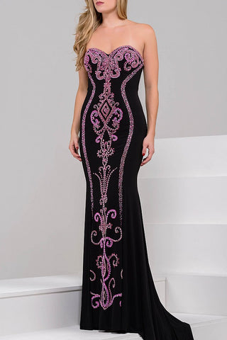 Jovani JVN 49357 This best selling gown is a jersey fitted prom dress with a sweetheart neckline that has hourglass beading down the length of the dress in the front and down the back of the train. Crystal Embellished bodice evening gown pageant gown   Available Size: 8  Available Color: Black/Fuchsia