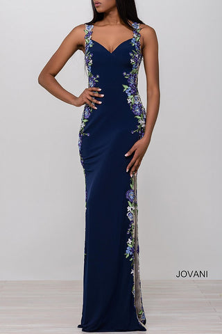 Jovani JVN 50049 Size 6 Long Sheer Floral Formal prom dress pageant gown