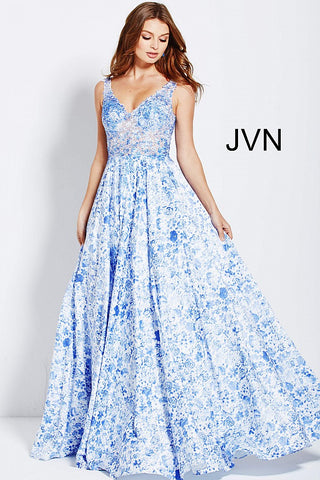 JVN by Jovani 50050 White and blue prom dress JVN50050