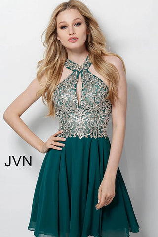 Jovani JVN 53177 keyhole short chiffon Fit and Flare Cocktail Lace homecoming dress