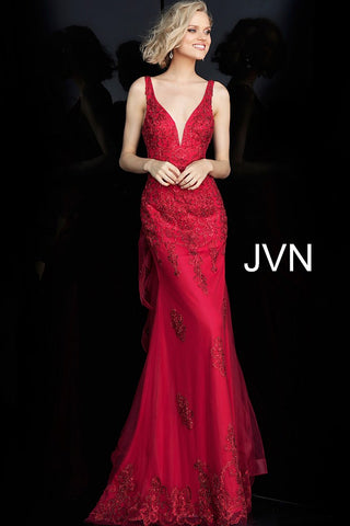 JVN by Jovani 53188 embellished ruffle back fitted prom dress-