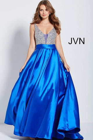 Jovani JVN 55754 Size 6 Beaded A Line Ballgown Prom Dress Royal V Neck